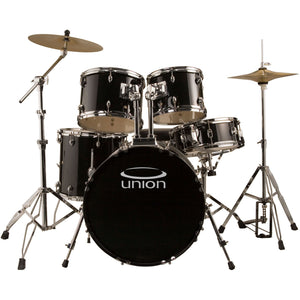 Union U5 5-Piece Jazz/Rock/Blues Drum Set with Hardware, Cymbals, and Throne, Black