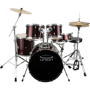 Union - U5 5-Piece Jazz/Rock/Blues Drum Set with Hardware, Cymbals, and Throne - Wine Red
