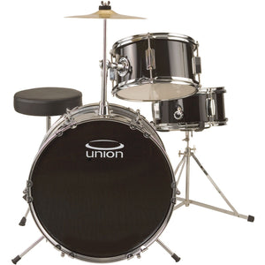 Union UJ3 3-Piece Junior Drum Set with Hardware, Cymbal, and Throne - Black
