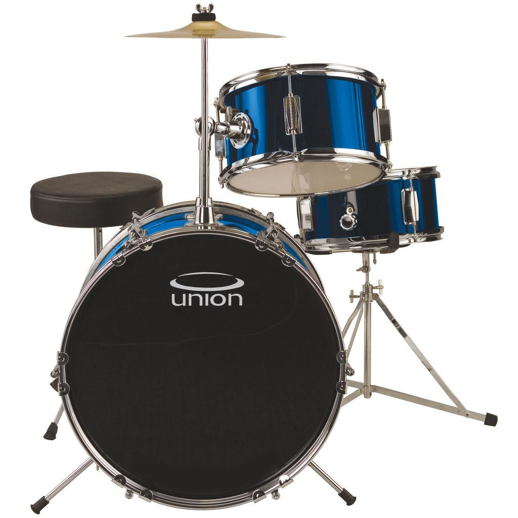 Union UJ3 3-Piece Junior Drum Set with Hardware, Cymbal, and Throne - Metallic Dark Blue