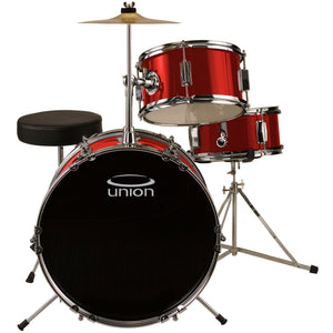 Union UJ3 3-Piece Junior Drum Set with Hardware, Cymbal, and Throne - Metallic Red