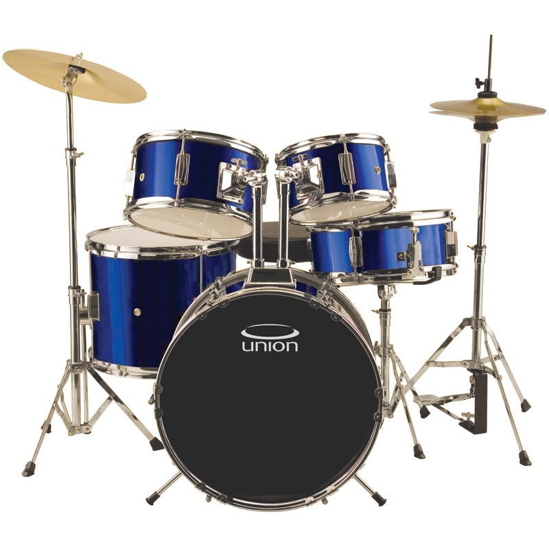 UJ5 5-Piece Junior Drum Set with Hardware, Cymbals, and Throne - Dark Blue