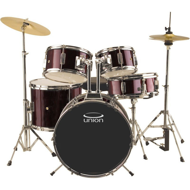 Union - UJ5 5-Piece Junior Drum Set with Hardware, Cymbals, and Throne - Wine Red