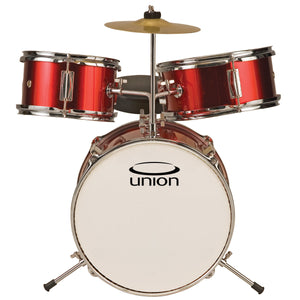 Union UT3 3-Piece Toy Drum Set with Cymbal and Throne, Metallic Red