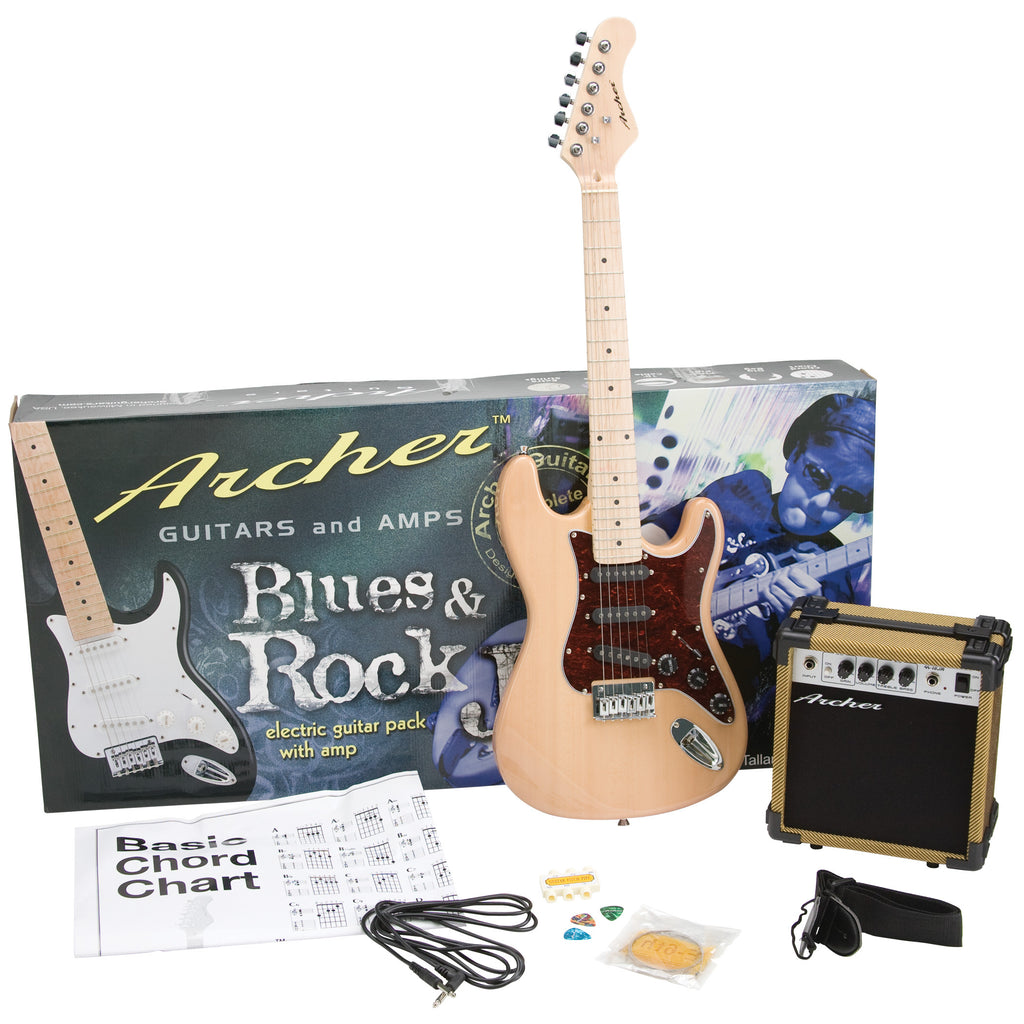 Archer SS10 Blues & Rock Jr. Electric Guitar Package - Natural