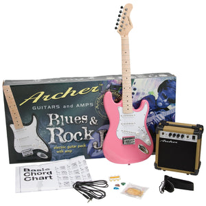 Archer SS10 Blues & Rock Jr. Electric Guitar Package - Pink