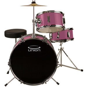 Union UJ3 3-Piece Junior Drum Set with Hardware, Cymbal, and Throne - Pink