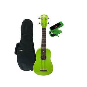 Melokia - Soprano Ukulele Value Pack, Nasty Neon Lime Uke with Green Korg Clip on Tuner and Dynamic Ukulele Gig Bag