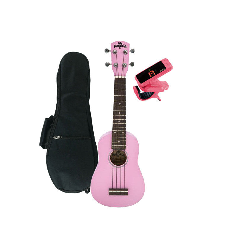 Melokia - Soprano Ukulele Value Pack, Pretty Pink Uke with Pink Korg Clip on Tuner and Dynamic Ukulele Gig Bag
