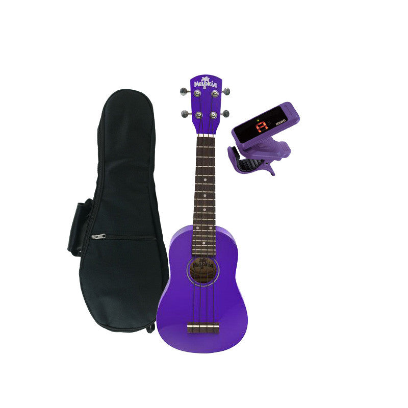 Melokia - Soprano Ukulele Value Pack, Pop Purple Uke with Violet Korg Clip on Tuner and Dynamic Ukulele Gig Bag