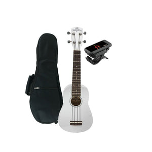 Melokia - Soprano Ukulele Value Pack, Wild White Uke with Korg Clip on Tuner and Dynamic Ukulele Gig Bag