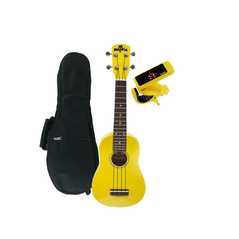 Melokia - Soprano Ukulele Value Pack, Mellow Yellow Uke with Yellow Korg Clip on Tuner and Dynamic Ukulele Gig Bag
