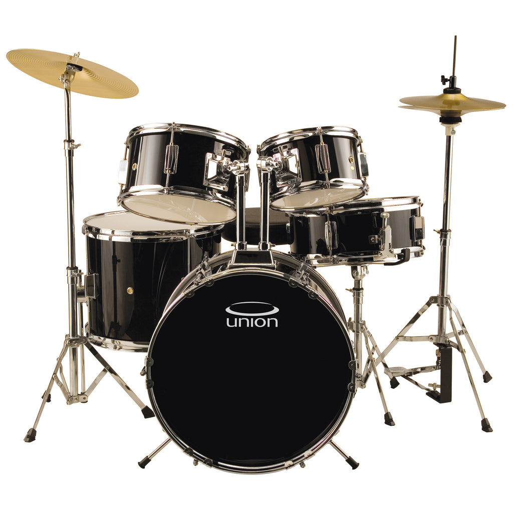 Union UJ5 5-Piece Junior Drum Set with Hardware, Cymbals, and Throne, Black