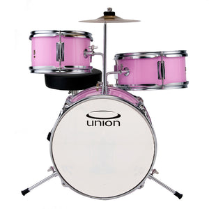 Union UT3 3-Piece Toy Drum Set with Cymbal and Throne - Pink