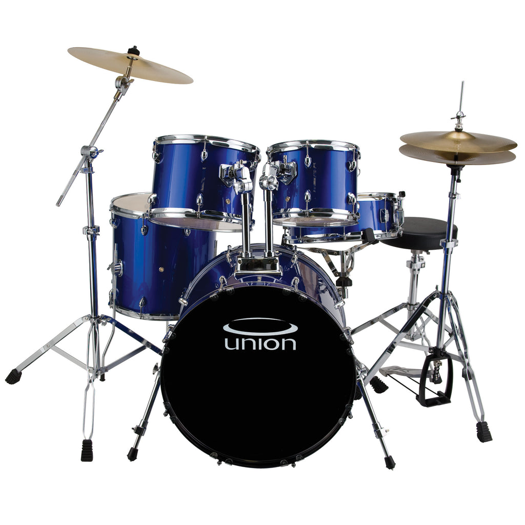 Union U5 5-Piece Jazz/Rock/Blues Drum Set w/ Hardware, Cymbals, and Throne - Dark Blue
