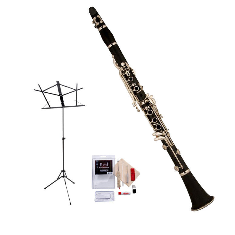 Ravel RCL102 Clarinet Value-Pack - Includes Clarinet, Care Kit, and Music Stand