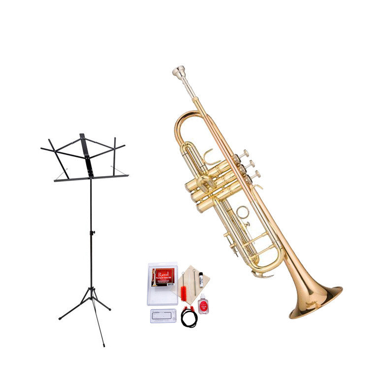 Ravel RTR102 Student Bb Trumpet Value-Pack - Includes Trumpet, Care Kit and Music Stand