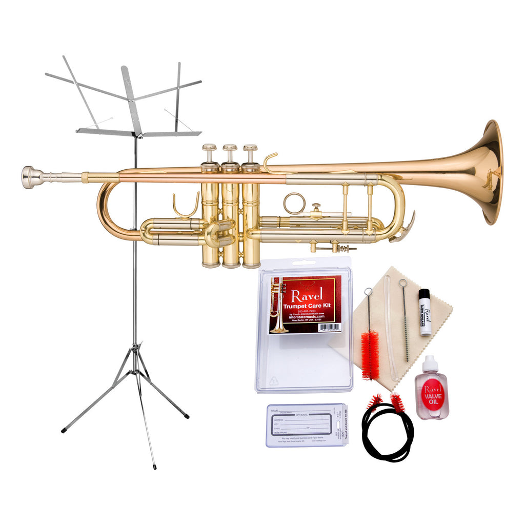 Ravel - RTR102 Student Bb Trumpet Value-Pack - Includes Music Stand and Care Kit