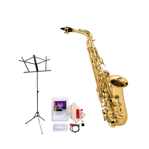 Ravel RAS202 Student Eb Alto Saxophone Value-Pack - Includes Sax, Care Kit, and Music Stand