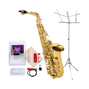 Ravel - RAS202 Student Eb Alto Saxophone  Value-Pack - Includes Music Stand and Care Kit