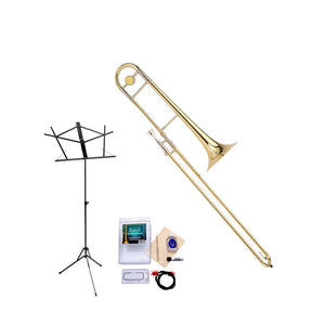 Ravel RTB102 Student Bb Tenor Trombone Value-Pack - Includes Trombone, Care Kit, and Music Stand