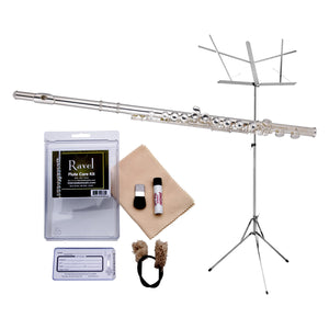 Ravel by Gemeinhardt 202SP Flute Value-Pack - Includes Hamilton Music Stand and Care Kit