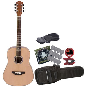 Archer - AD10 - 6 String Acoustic Guitar Value-Pack - Includes Tuner, Picks, Gig Bag, Strings and Strap