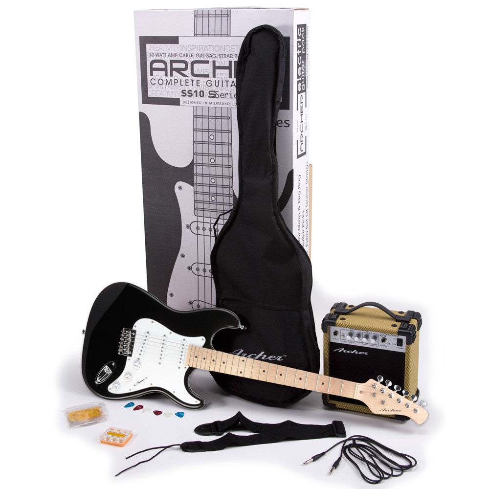Archer SS10 Electric Guitar Package - Black