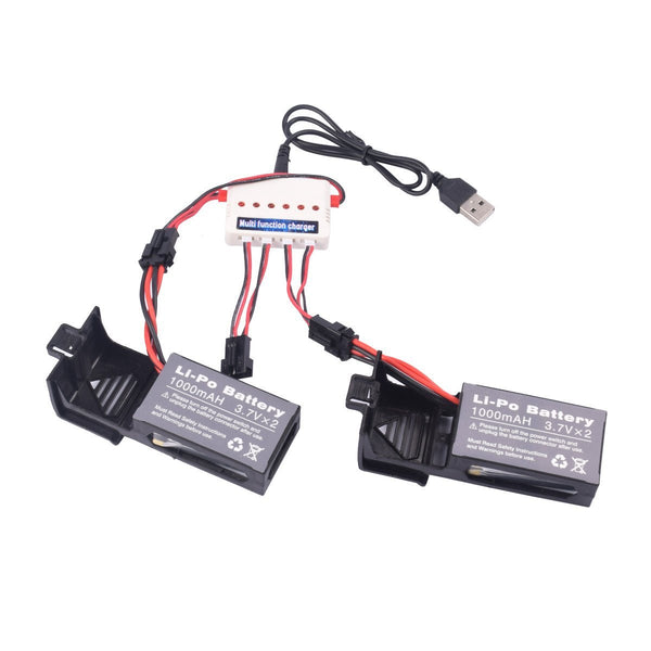 Youcute 2pcs 3.7v 1000mah Official Battery and 1to3 Charger for Udi U842 U818S Rc Quadcopter Drone Black Spare Parts - DroneLand