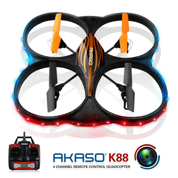 AKASO K88 2.4GHz 4 CH 6 Axis Gyro RC Quadcopter with HD Camera, Gyro Headless, 360-degree Rolling Mode 2 RTF LED RC Drone - DroneLand