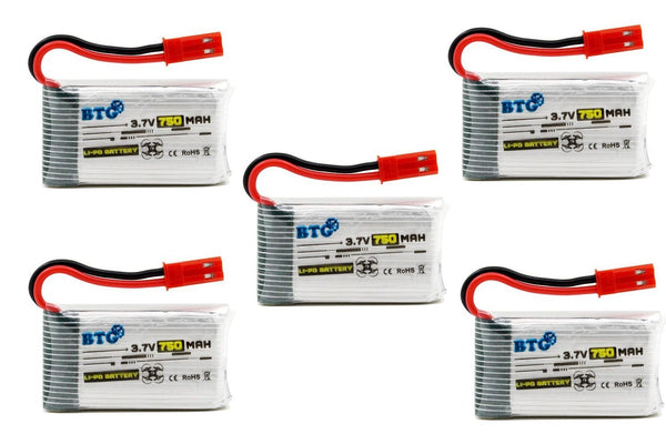 BTG 3.7V 750mAh 25C Battery for MJX X400 X400W X400C X200 X300C X500 X800 Drone HS110W HS200W Drone Sky Viper S670 Drone Parts-pack of 5 - DroneLand