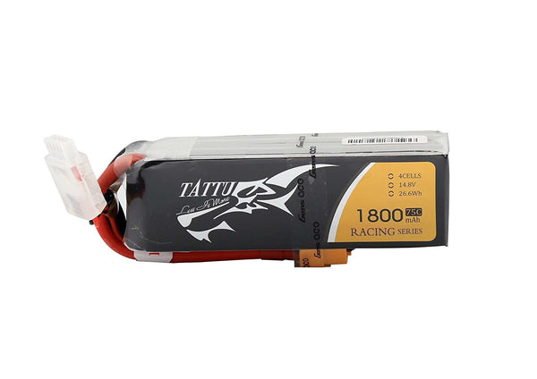 Tattu LiPo Battery Pack 1800mAh 14.8V 75C 4S Racing Series with XT60 Plug for RC Car Boat Truck Heli Airplane UAV Drones FPV - DroneLand