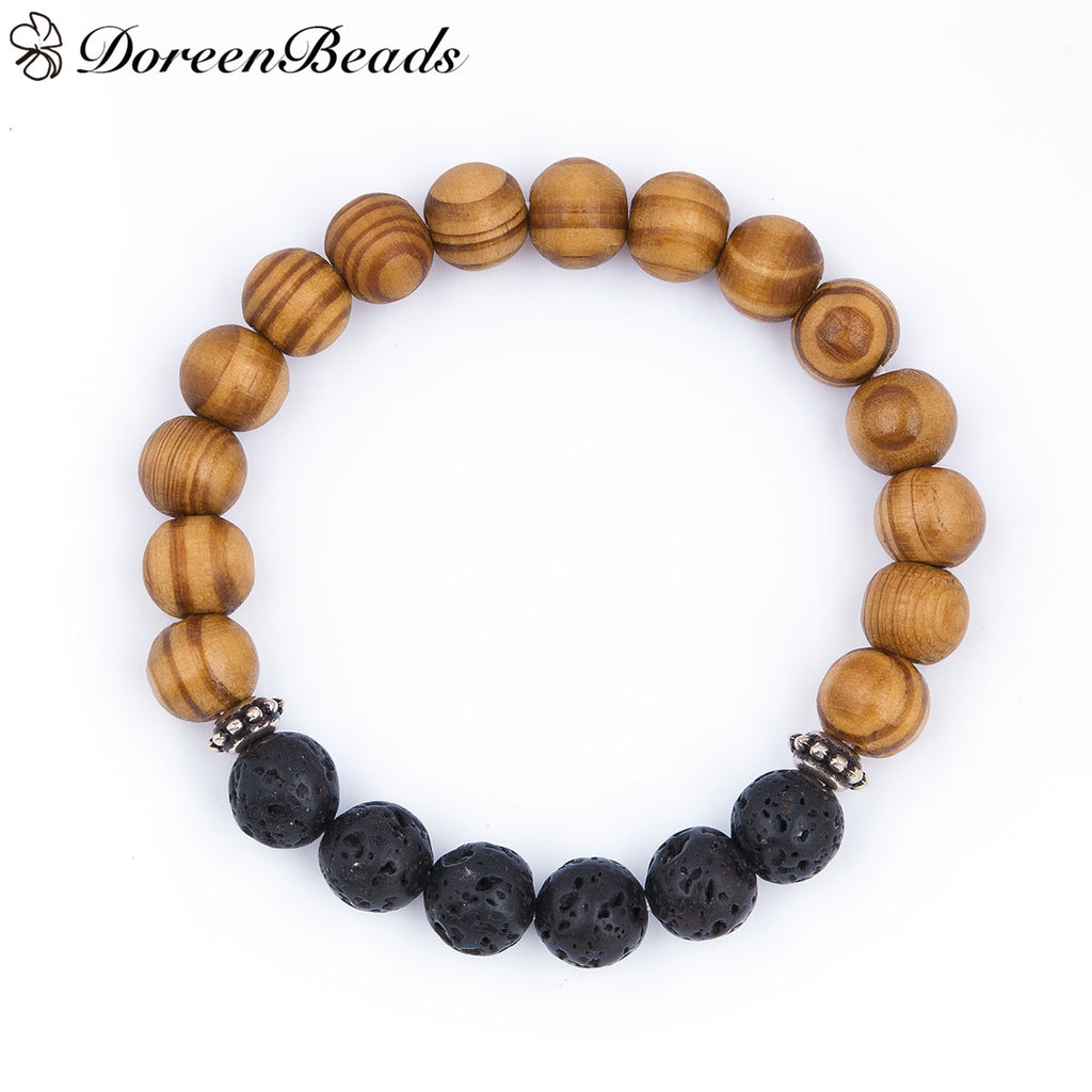 Lava Stone and Wood Bracelet