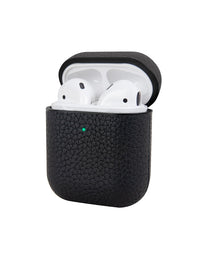 Black Pebbled Leather AirPods Case