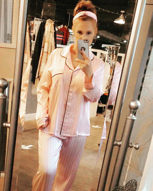 The Victoria Pink Stripe Sleepwear Set - Bella Boutique