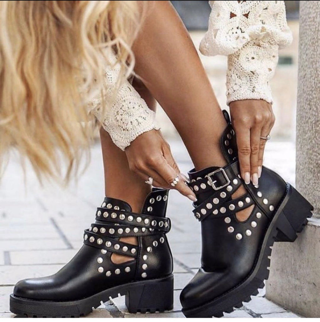 The Delina Biker Boots - Bella Boutique