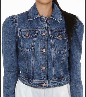 The Karla Puff sleeve denim jacket - Bella Boutique
