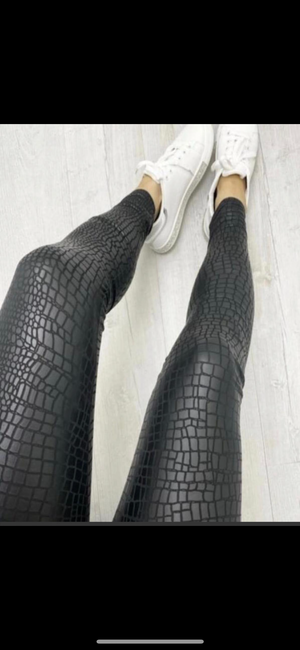 Croc Effect Leggings - Bella Boutique