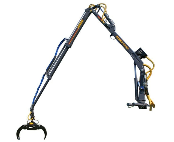 FARMA 8.5 slef loading crane features 2 hydraulic telescopic extensions.
