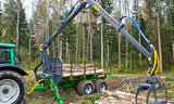 FARMA 7,0-12 self loading log crane, trailer and log grapple.