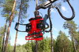 Mecanil XG220 felling head with chainsaw and blade.
