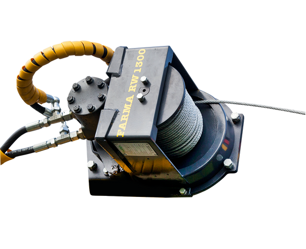 Hydraulic remote control winch can be installed on FARMA cranes or excavator booms.
