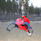 Mecanil SG280 grapple saw with standard log grapple claws for cranes and knucklebooms.