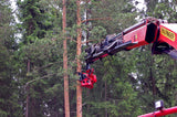 Treekmek grapple saw by mecanil installed on palfinger knuckleboom