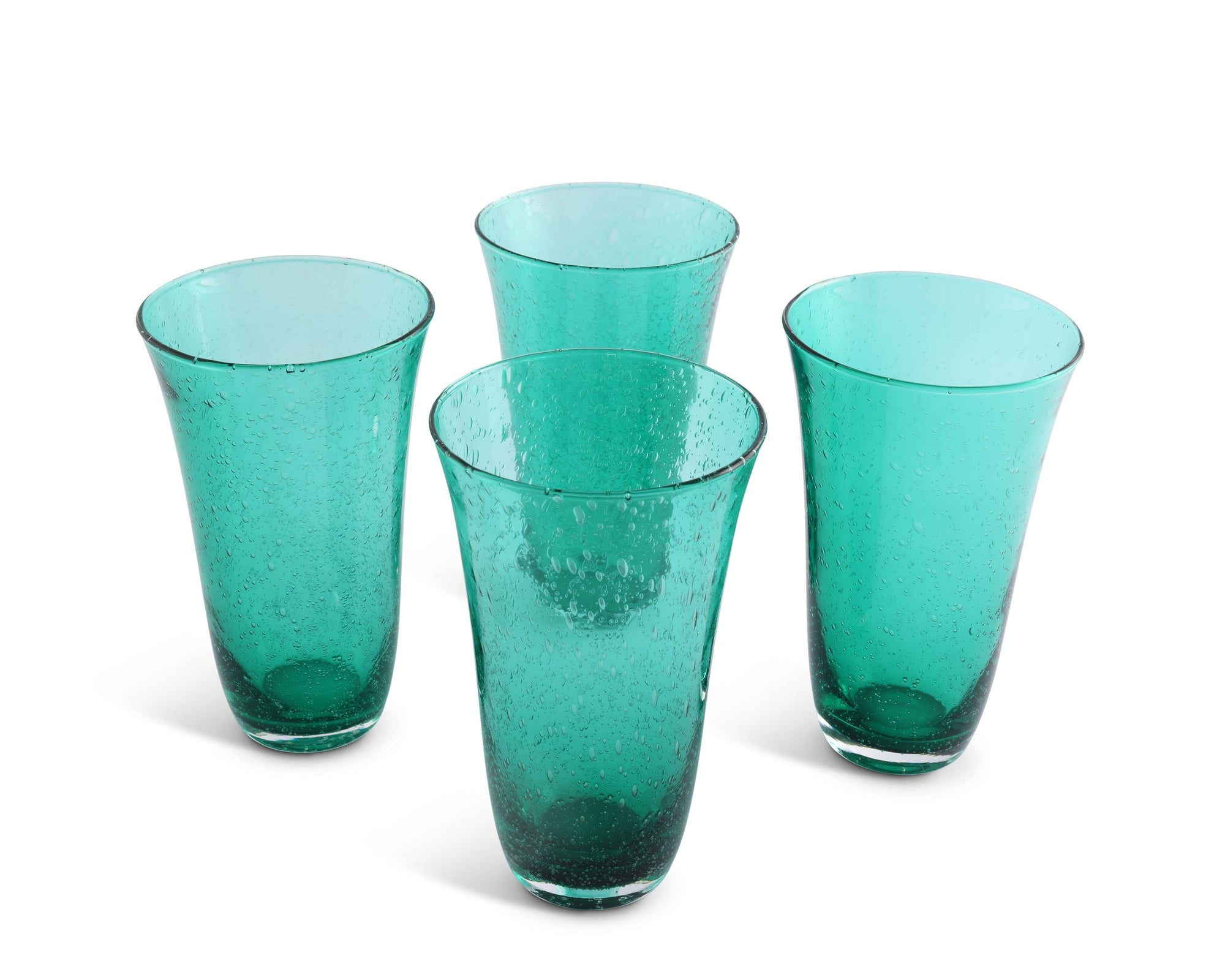 Vagabond House Hand Blown Glassware Illusion Hi-Ball - Green- Set of 4