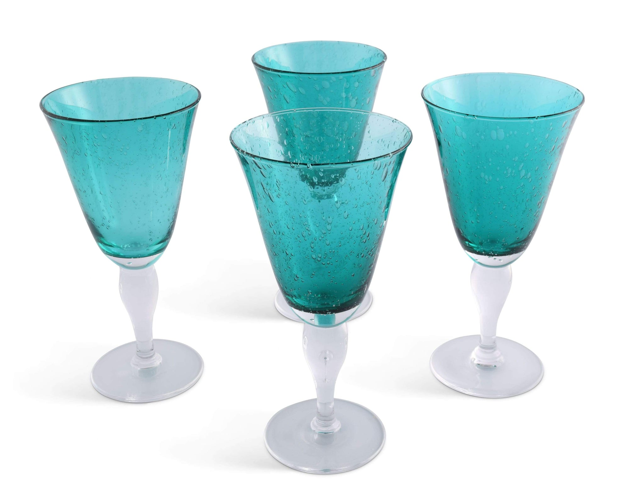 Vagabond House Hand Blown Glassware Illusion Water Glass - Green- Set of 4