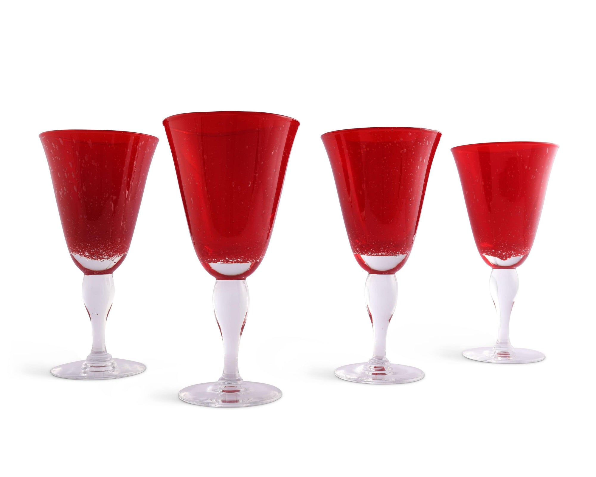 Vagabond House Hand Blown Glassware Illusion Water Glass - Red- Set of 4