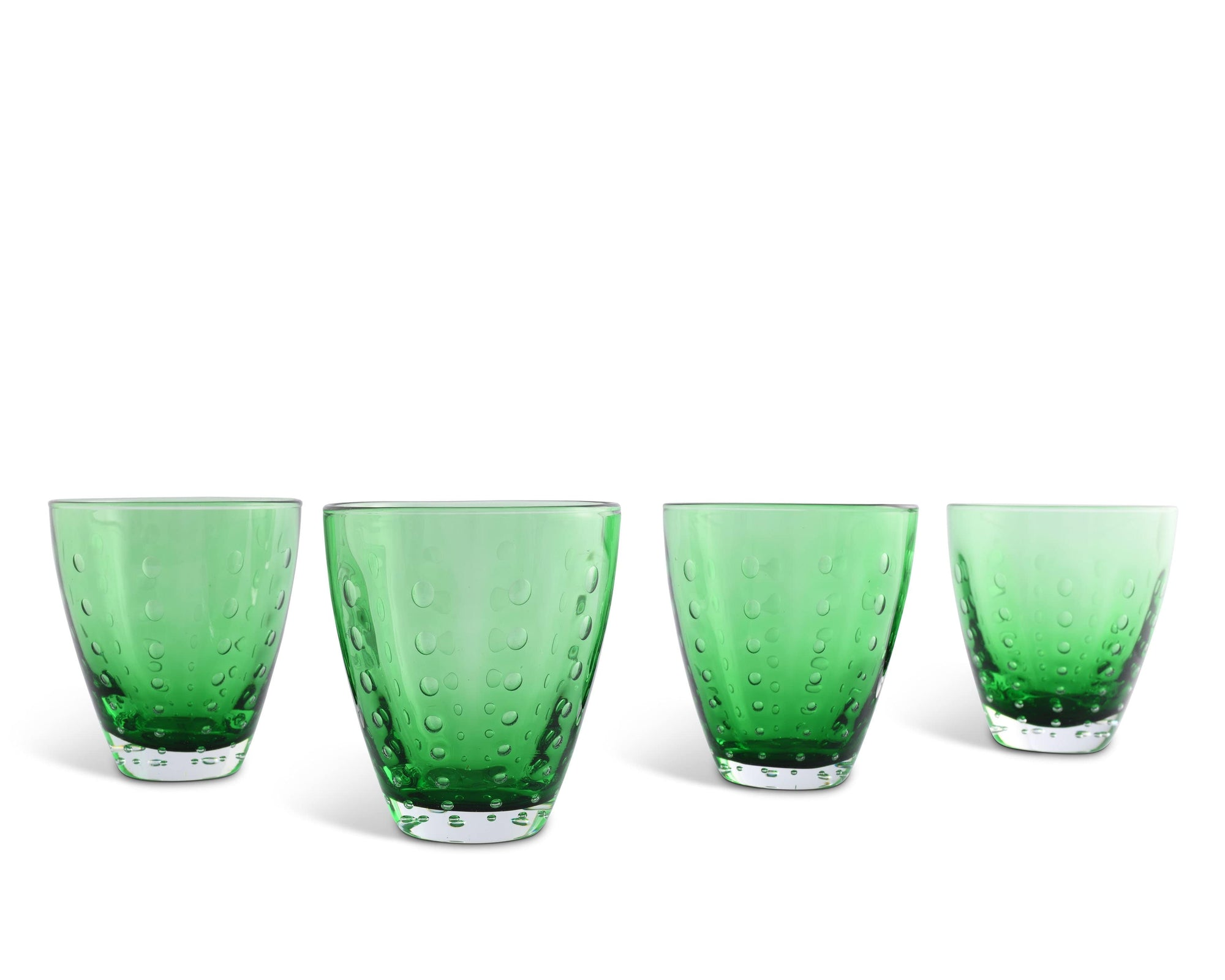 Vagabond House Hand Blown Glassware On the Rocks Glass - Forest Dew-Green - Set of 4