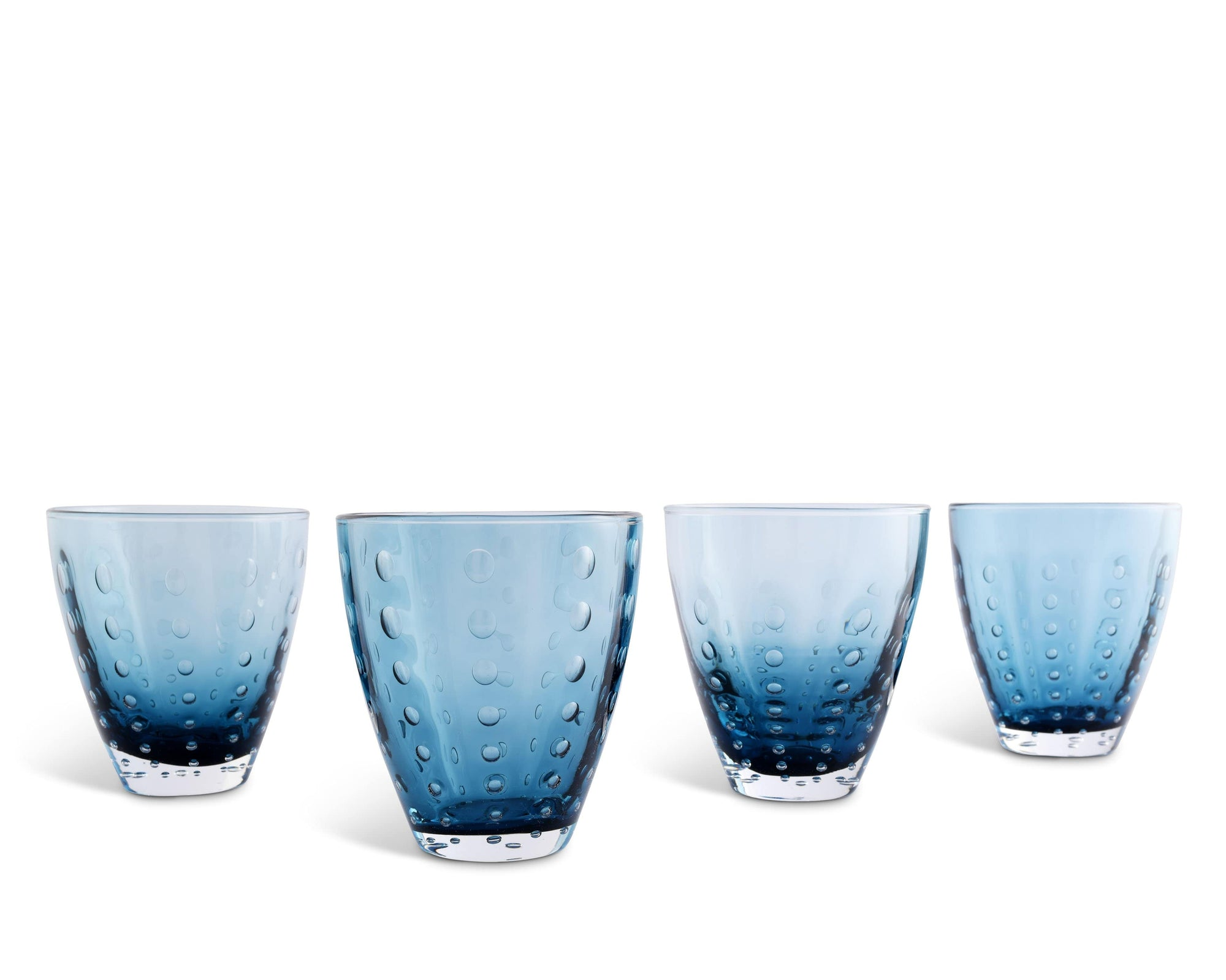 Vagabond House Hand Blown Glassware On the Rocks Glass - Sea Drops-Deep Blue  Set of 4