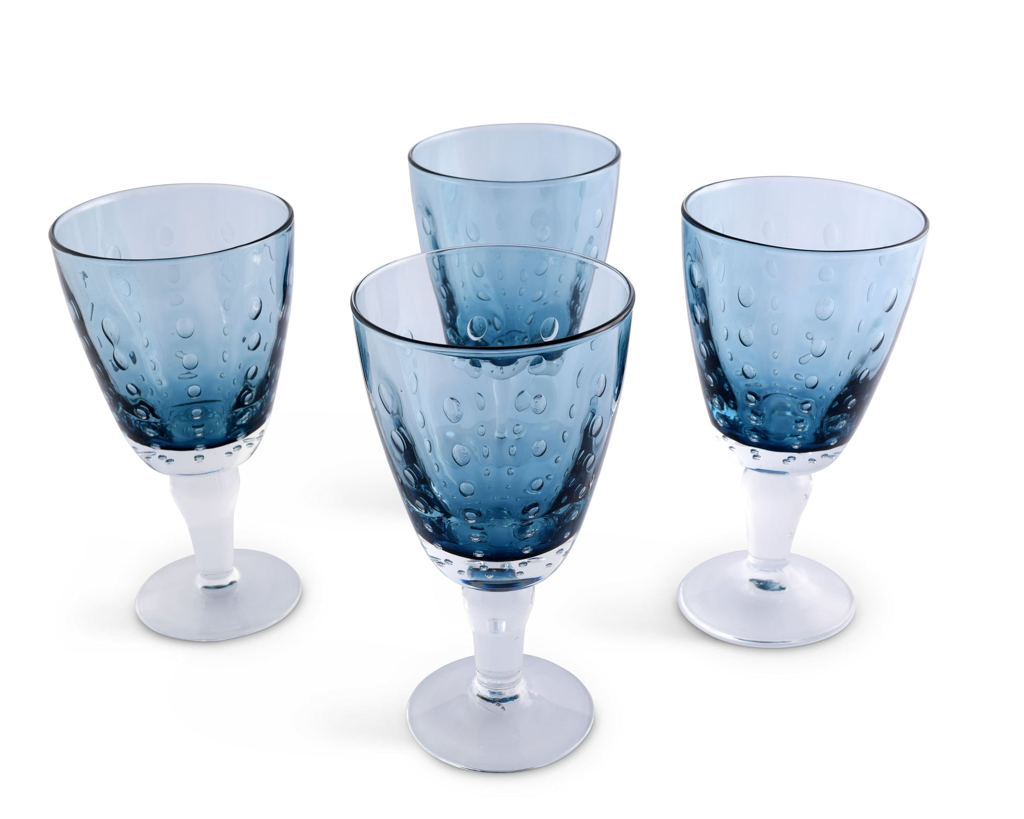 Vagabond House Hand Blown Glassware Water Goblet - Sea Drops-Deep Blue Set of 4